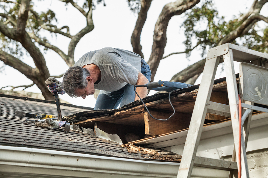 man using crowbar to remove rotten wood from leaky roof